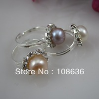 Free Shipping(10pcs/lot))   Freshwater Pearl Ring With Crystal Flower Shape Size Adjustable
