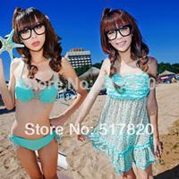 Free shipping korean bikini 2014 bikinis push up tankini swimsuit wire bikini piece set split skirt swimwear