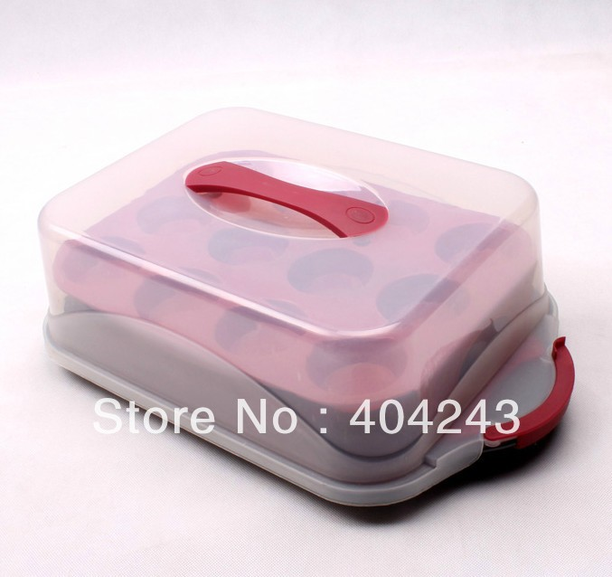 New Plastic Collapsible single cupcake boxes and Cake Carrier Folding 24 cupcakes cups Double Muffin cake box bakeware chassis(China (Mainland))