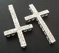 2013 Fashion Jewelry Finding Silver Crystal  Rhinestone Sideways Cross Jewelry Connectors Spacers 42*23