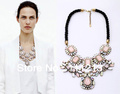 2013 Fashion vintage exaggerated Pink Crystal Necklace Rhinestone choker Necklace statement jewelry dropshipping W455