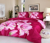 Hot Beautiful 100% Cotton 4pc Doona Duvet QUILT Cover Set bedding set Full / Queen/ King size 4pcs red lily flowers