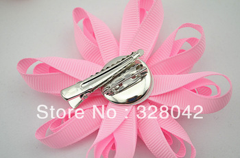 baby girl Solid Color Grosgrain Ribbon flowers clip Free shipping pearl DIY handmade flowers hairpin hair accesories 48pcs/lot