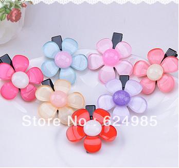 Trail order Free shipping baby cute mini sunflower hair clip pink jaffaite fashion flower hair clip 30pcs/lot(China (Mainland))