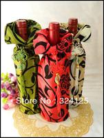 Free shipping wholesale 10pcs chinese style satin 34x13cm Wine case for gift praty weeding gift wine bottle bag