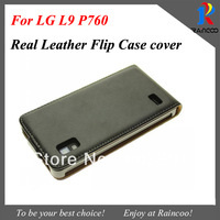 New arrival simple Real leather case for LG L9, Genuine Leather flip cover for LG Optimus L9 P760