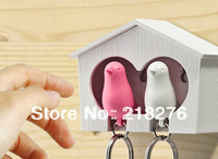 Keychain Holder Bird Whistle Key Ring Double Dual Lover Bird House Sparrow Key Chain Holder