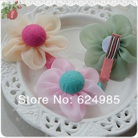 Free shipping wholesale 2013 baby fashion hair clip Logan yarn cute button hairpin hot pink chiffon flower hair clip120pcs/lot