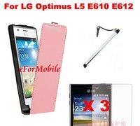 2013 New Slim Flip Case Mobile Phone Leather Case+Screen Protector+ Mobile Phone Pen For LG Optimus L5 E610 E612