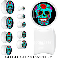 free shipping 2013 new skull ear plugs body piercing jewelery ear tunnels plugs mix 8 size for you to choose 64pcs/lot