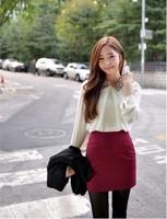 2013 spring Korean Women Shirt New sequined lapel chiffon shirt female long-sleeved shirt Women Skirts Dress