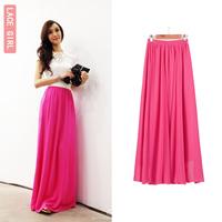 Pleated yarn skirt summer plus size chiffon half-length fashion expansion hot sale women 2014 new maxi skirt  16 colors