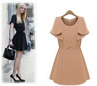 2013 star style fashion cape type slim waist short sleeve all match fashion dress 3084