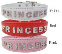 Pet supplies pet crystal collar dogs white pink red rhinestone princess bling dog collars M L free shipping