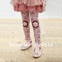 Free shipping 2013 fashion lycra patch floral print girls Tights, Girl's Flower Trousers for kids wear