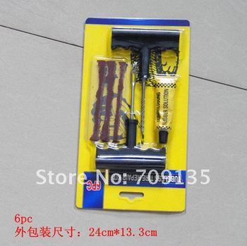 Free shipping 6pcs/set Car Auto Tubeless Tire Tyre Puncture Plug Repair Kits, 5sets/lot