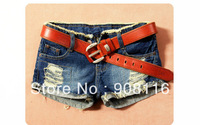 Drop shipping,2013 Brand New Women temperament fashion Summer short jeans ladies denim holes embellished shorts,S,M,L,XL