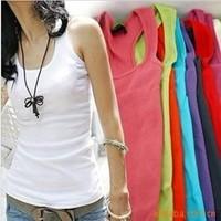 100 pcs/lot lowest price Hot sale cotton long tank tops sleeveless vest candy color sex vest free DL/FEDEX shipping