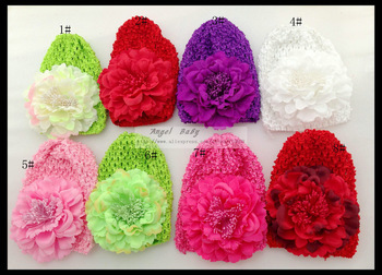 4.5inch Children's Peony Flower + Knitting Beanie Cap Hat + Baby HairClip Headwear 16pcs