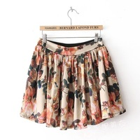 Free shipping 2013 spring new arrival high waist big flower  fashion girls skirts chiffon