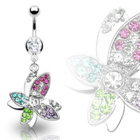 Free Shipping!Wholesale Butterfly Dangle Ring  Navel Ring Belly Button Ring Body Jewelry