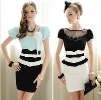 Summer work wear ol elegant black and white bow ruffle tight-fitting xiangpin high waist skirt