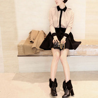 2013 spring lacing formal dress exquisite small lapel colorant match basic skirt long-sleeve dress