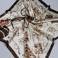 2013  new style woman  silk scarf 90*90cm square scarf  coffee color  M-007