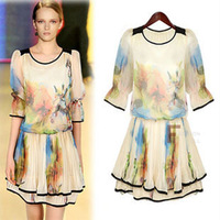 2013 summer women's elegant classic fashion large print quality tencel one-piece dress