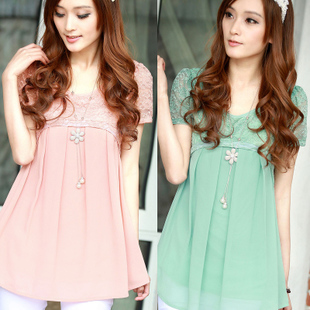 Free shipping 2013 summer women&#39;s chiffon shirt short-sleeve medium-long lace shirt basic top(China (Mainland))