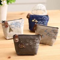 Derlook vintage classic nostalgic zakka linen canvas small coin purse,key wallet