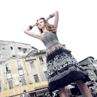 2013 square collar sleeveless one-piece dress fancy silk vest medium skirt limited edition