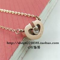 Love 88 rose gold heart necklace chain titanium accessories female