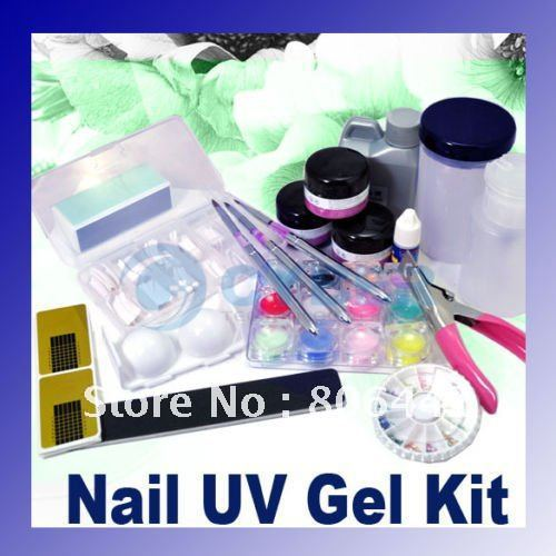 High qualityNail Kit Full Acrylic Powder Liquid UV Gel Set Manicure Glue File Professional or home use free shipping(China (Mainland))