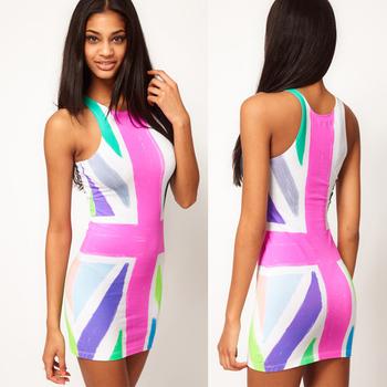 One-piece dress yumi neon color torx flag doodle print slim sexy one-piece dress