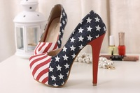 Fashion Female shoes american flag t ultra high heels single low color block decoration plus size shoes autumn Free Shipping