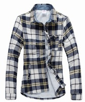 2012 White Men'sshirtLong sleeve cheap Slim Casual Shirt Plaid Collar Cotton Free Shipping68