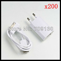 200set/lot High Quality New EU USB Wall Charger Adapter + cable  for iPhone 3gs/4g/4s/iPod