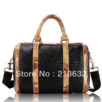 Free shipping the fur crocodile bag organizer genuine leather women's totes pattern handbag vintage shoulder bags 2013