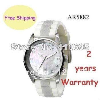Brand New Men's casual Multi-function watch quartz Movement White Rubber wristwatch AR5882 + Original Box
