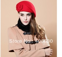 new winter women high quality woolen felt beret hat cap, fedora hat, black, red, camel, free shipping