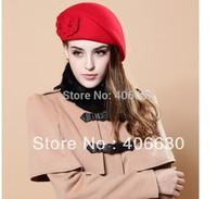 new winter women high quality woolen felt beret hat cap, fedora hat, black, red, camel, free shipping