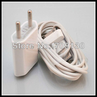 50set/lot 2 in 1 EU Wall Charger Car Charger USB Cable Travel Kit for iPhone 4 4S 3GS 3G