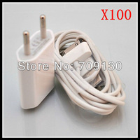 100set/lot 2 in 1 EU Wall Charger Car Charger USB Cable Travel Kit for iPhone 4 4S 3GS 3G
