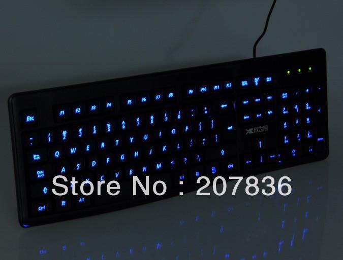 New Multi-media Illuminated blue Led Backlit Light Up keyboard USB 2.0 for PC x1 free shipping(China (Mainland))