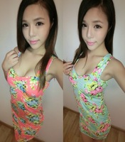 Summer sexy women's 2013 women's bow racerback fancy one-piece dress