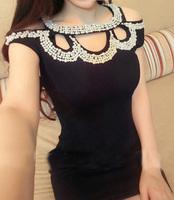 Pearl rhinestone inlaying sleeveless slim formal dress handmade one-piece dress