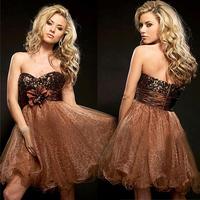 Fashion leopard print paillette design short formal dress tube top dress bridesmaid dress costume
