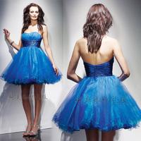 Dream organza navy blue rhinestones brief design short puff  dress costume