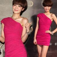 New arrival rose dress oblique short design evening dress costume one shoulder